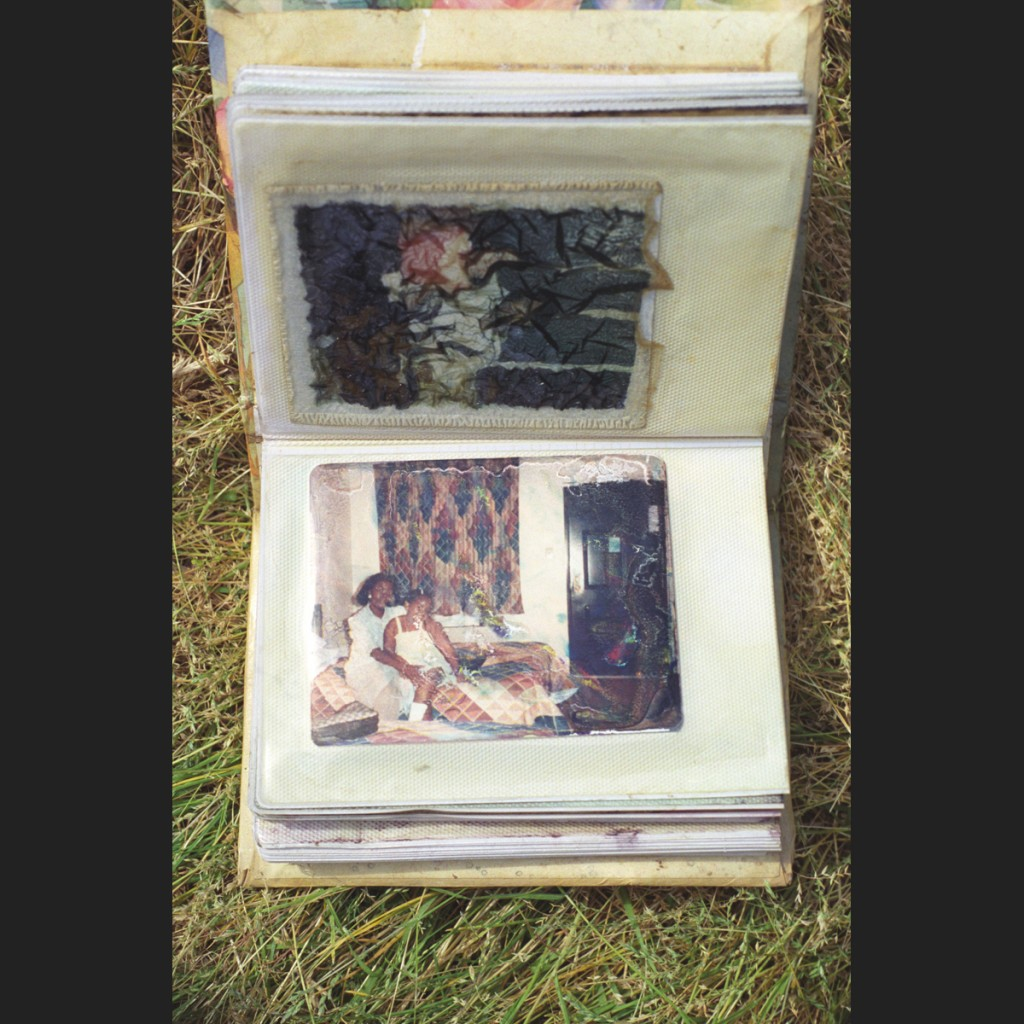 Image of a family photo album that has dissolved into colorful mold after Hurrican Katrina