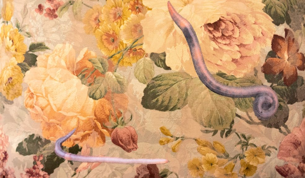 fabric worms on floral brocade detail
