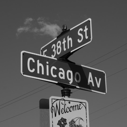 image of the street signs at the corner of 38th Street and Chicago Avenue in South Minneapolis