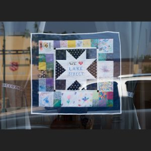 We love Lake Street quilt in the window of Ingebretsen's