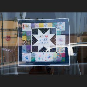 We love Lake Street quilt in the window of Ingebretsen's