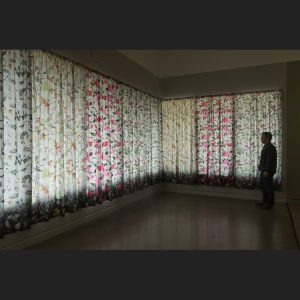 installation view of curtains by artist Stephanie Lynn Rogers at the Rochester Art Center