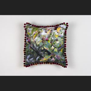 Pillow with pom poms and photo of crab apples