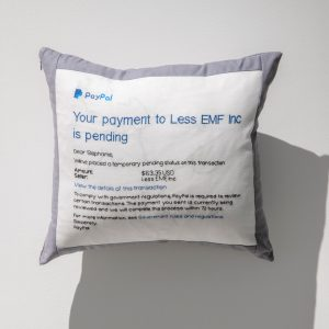 Pillow with cross stitched message from Paypal about how a payment is pending government review